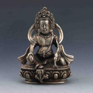 Tibetan Silver Handwork Carved Buddha Statue G751 photo