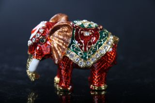 Exquisite Hand Carved Elephant Cloisonne Copper Inlaid Diamond Statue J369 photo