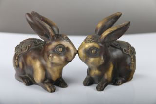 Exquisite Chinese Hand Carved Brass Two Rabbits Statue J300 photo