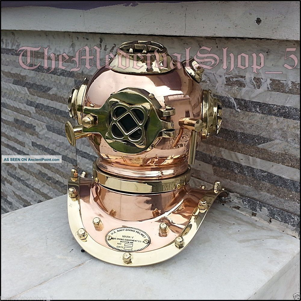 U.  S.  Navy Mark Iv Mini Diving Helmet Deep Sea Divers Helmet Copper & Brass Scuba Other Maritime Antiques photo
