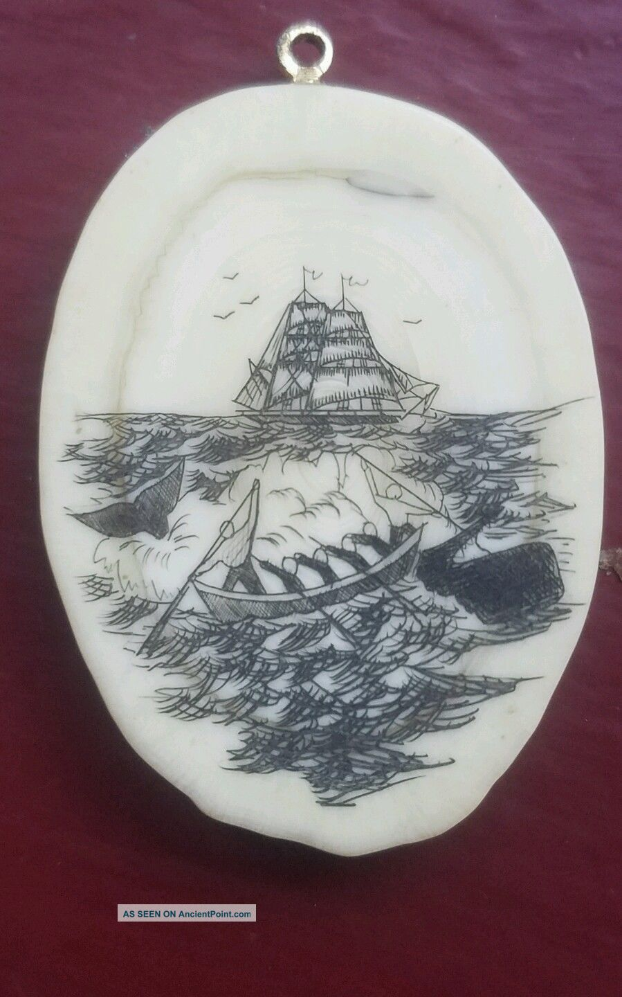 Scrimshaw Pendant,  On Bone,  Whaling Scene Scrimshaws photo