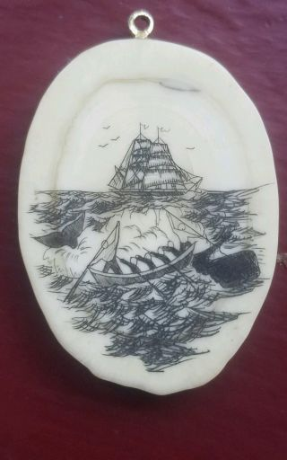 Scrimshaw Pendant,  On Bone,  Whaling Scene photo
