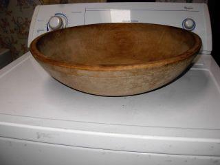 Huge Antique Wood Dough Bowl W/ Rim Surface 17 1/2