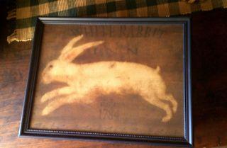Primitive Farmhouse White Bunny Rabbit Inn 1784 Print Picture Only U Frame photo