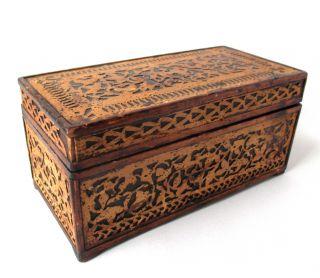 Antique Handmade Primitive Wood Fretwork Box,  Document Box Or Keepsake Box photo