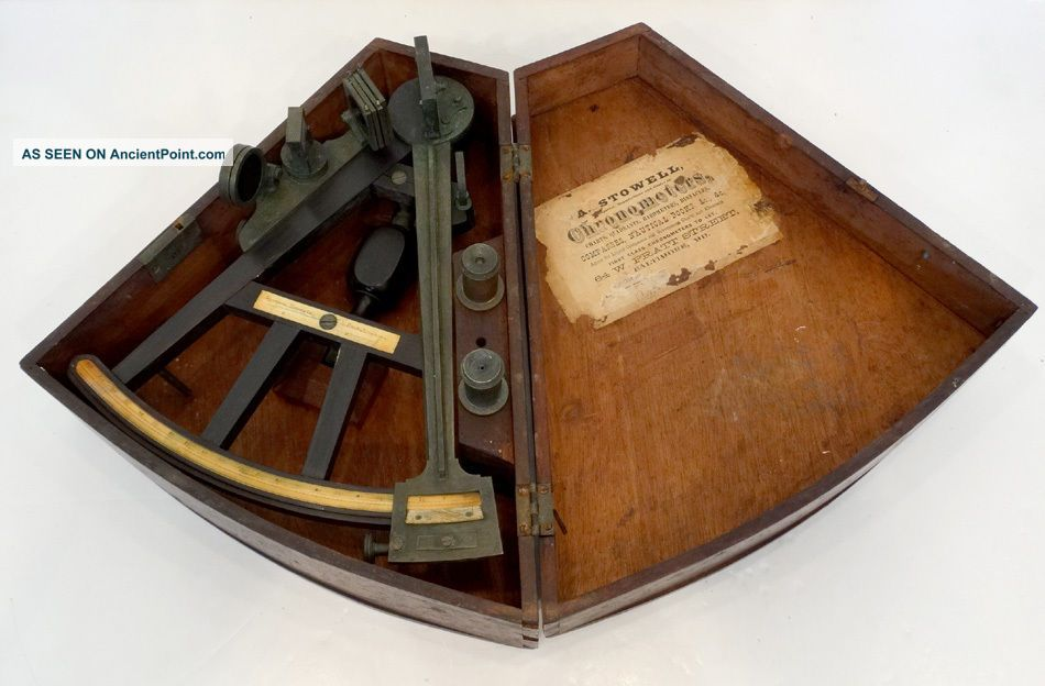 1800 ' S Antique Spencer Browning & Rust Ebony Brass Inlay Nautical Sextant Octant Sextants photo