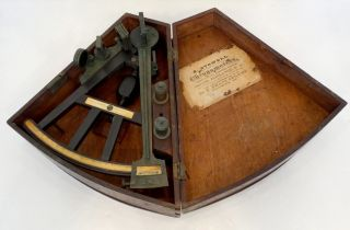 1800 ' S Antique Spencer Browning & Rust Ebony Brass Inlay Nautical Sextant Octant photo