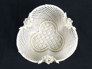 Rare Antique Belleek Basket 4 Strands Of Weave,  Belleek Co,  Fermanagh,  Ireland photo