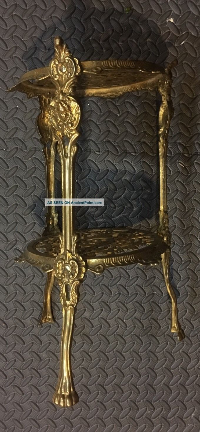Antique Ornate 2 Tier Polished Solid Brass Plant Stand Lion Feet Cherubs 1900-1950 photo