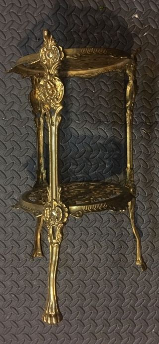 Antique Ornate 2 Tier Polished Solid Brass Plant Stand Lion Feet Cherubs photo