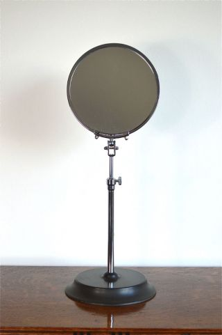 Art Deco Chrome And Bakelite Adjustable Shaving Make Up Mirror Tripod Base photo