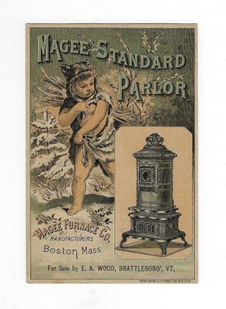 Late 1800s Trade Card - Magee Standard Parlor Stove - E.  A.  Wood Brattleboro,  Vt photo
