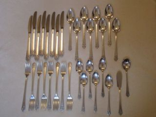 32 Piece Rogers Deluxe Plate Precious Silverplate Flatware Forks Knives Spoons photo