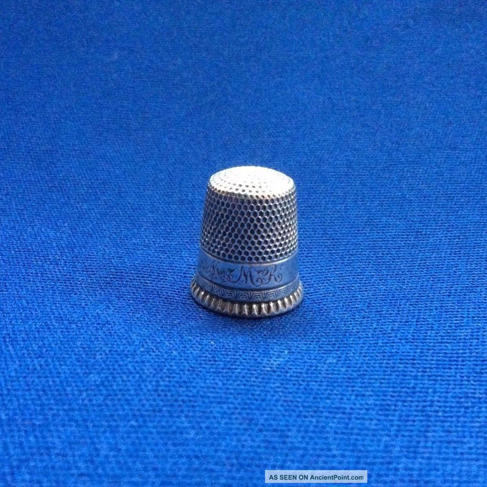 Ketcham & Mcd Silver Antique Thimble - Decorative Border,  Sz 10,  Monogrammed Mmr Thimbles photo