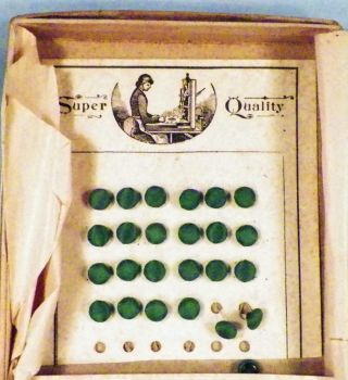 42 Antique Satin Covered Buttons Green Miniature Doll Clothes Children Victorian photo
