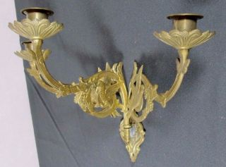 French Antique Sconce: 3 Arm Bronze Church Bird W/ Leaf Religious Wall Candle photo