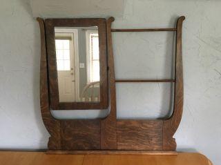 Vintage Wooden Vanity / Dresser Mirror Harp Style With Towel/tie/scarf Rack 31