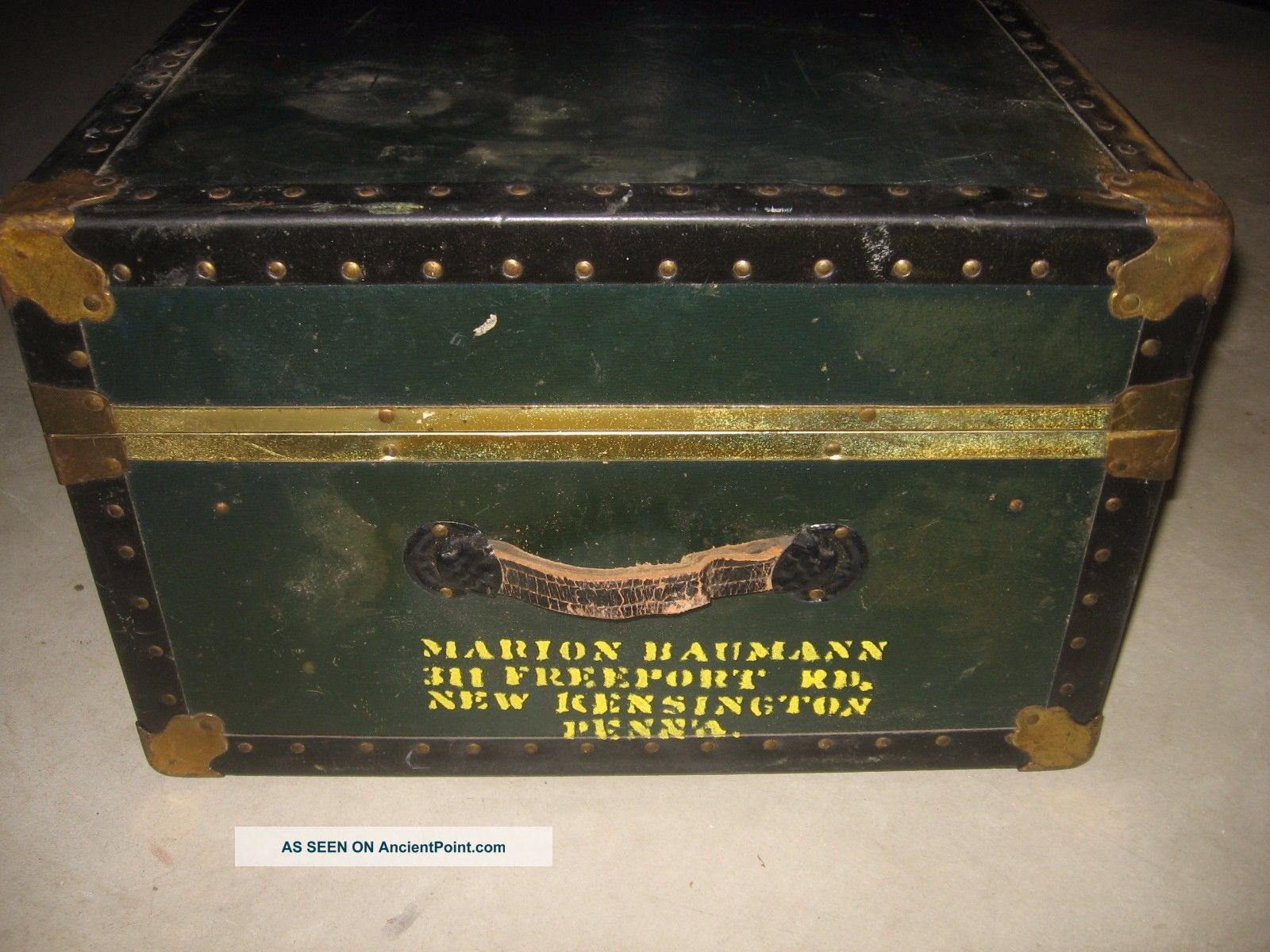 Vintage Steamer Travel Trunk Spaulding Chest Military Wwii Marion Bauman 1900-1950 photo