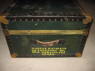 Vintage Steamer Travel Trunk Spaulding Chest Military Wwii Marion Bauman photo