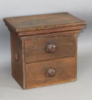 Rare 19th C Two Drawer Desk Chest Or Document Box Chestnut In Old Surface photo