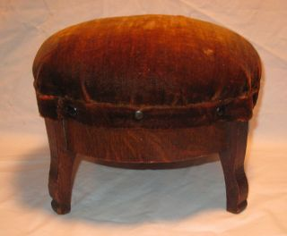 Antique Round Oak Stool Foot Rest Finish Mohair Upholstered Top photo