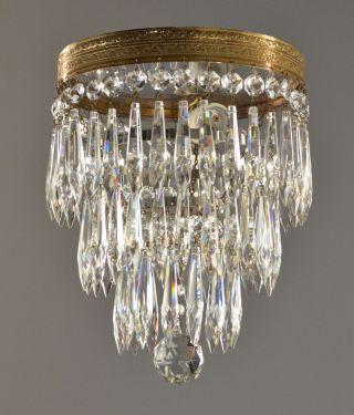 Crystal Wedding Cake Style Chandelier C1930 Vintage Antique Gold Brass Flush photo