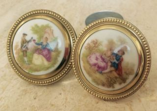Antique Hand Painted Knobs Pair Brass Beaded Pastoral Country Scene Musical photo