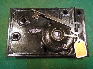 Vintage Corbin Rim Lock W/key & Keeper & Both Escutcheons (6977) photo