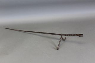 Rare 17th C Footed Rotating Wrought Iron Skewer Or Spit Best Decorated Handle photo