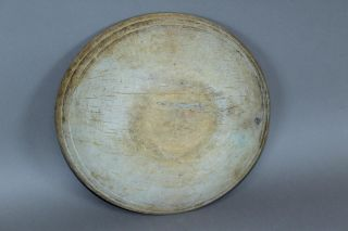 Great Early 19th C Turned Wooden Bowl In Maple Best Old Ivory White Wash Paint photo