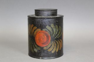 Great 19th C Ct Paint Decorated Tin Toleware Covered Canister Paint photo