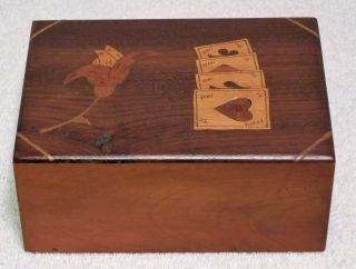Unusual Vintage Wooden Double Playing Card Box With Inlaid Suits And Flower photo