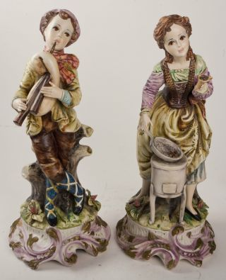 Suberb Large Capodimonte Italy Porcelain Figures Boy And Girl photo