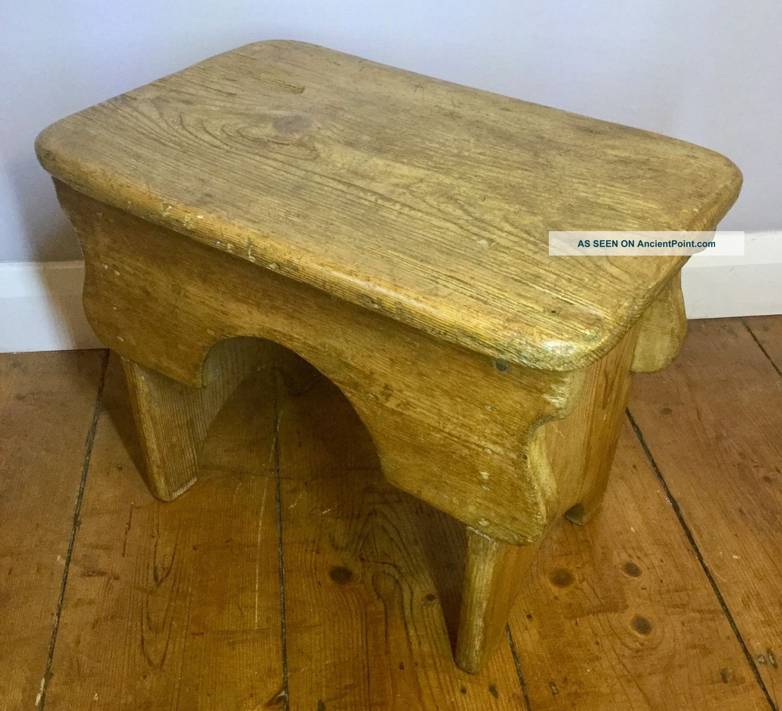 Antique Vintage Rustic Pine Milking Stool Table Traditional English Country Wood 1900-1950 photo