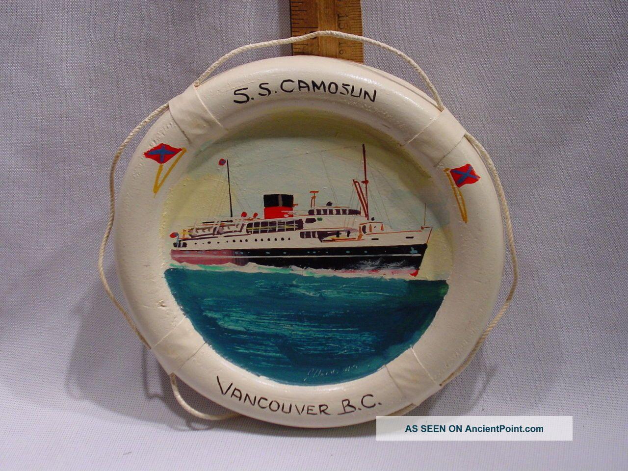 Jack Hardcastle Mid 20thc Painting Steamship Ss Camosun Nanaimo Bc Canada Folk Art photo