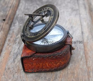 Nautical Instrument Astrolabe Marine Ship Sundial Compass With Case Vintage Gift photo