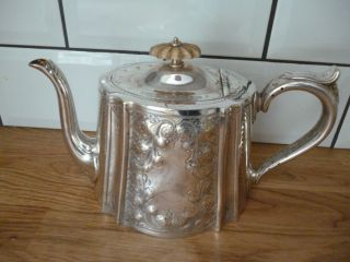 Victorian Silver Plated Engraved Teapot By Venture - Slater Bros photo