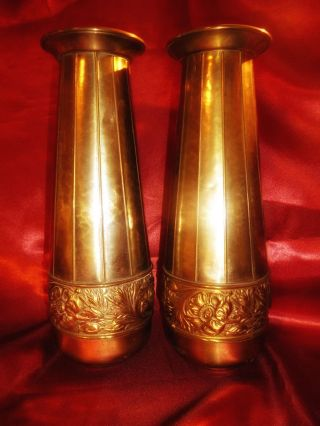 Pair Vintage Art Nouveau Brass Vases Stamped Purely British With Brittania Image photo