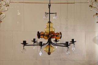 Erik Hoglund Iron,  Amber Glass And Faces Chandelier Boda Sweden 1960 ' S photo