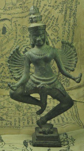 Antique Khmer Bronze Hevajra Shiva Diety God Statue Figure Angkor Wat Bayon Rare photo