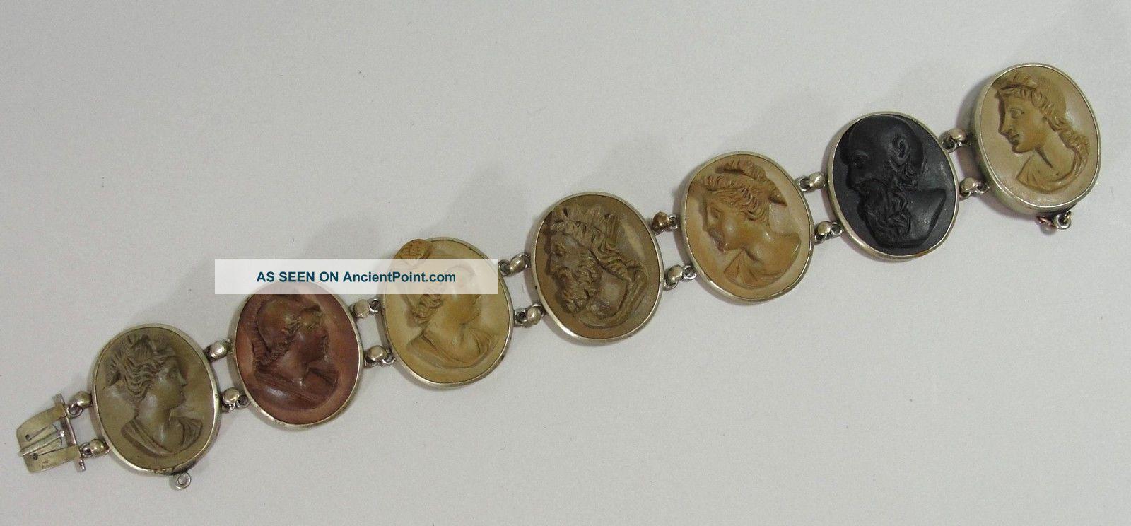 7 Antique Carved Lava Stone Cameos & Silver Bracelet South Italian photo