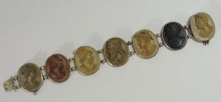 7 Antique Carved Lava Stone Cameos & Silver Bracelet photo