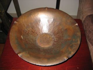 Craftsman Studio Laguna Beach Ca Hammered Copper Petal Bowl With Sunrise & Braid photo