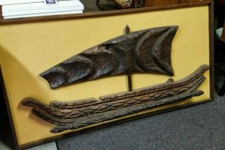 Vtg Witco Mid Century Modern Viking Ship Carved Wood Wall Hanging 60 ' S/70 ' S Rare photo