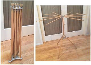 Vtg Artmoore 12 Arm Wood Collapsible Drying Rack Laundry Clothes Folding Antique photo