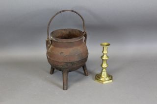 Rare 18th C Cast Iron Hanging Tall Footed Pot In And Old Surface photo