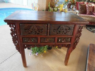 Antique Primitive Handcrafted Carved Wood Sideboard Table Or Console W/drawers photo