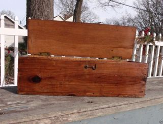 Vintage Wooden Box Wood Old Tool Storage Chest Primitive Display Lid With Hook photo