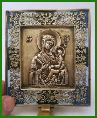 Russia Orthodox Bronze Icon The Virgin Of Tikhvin.  Enameled. photo