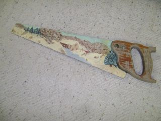 Collectible Sm Saw With Winter Picture Painted On Blade. photo